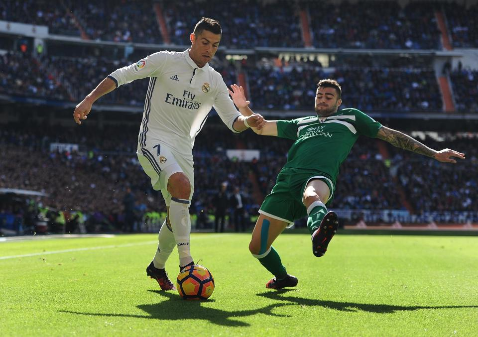Rico tangles with former Real Madrid star Cristiano Ronaldo
