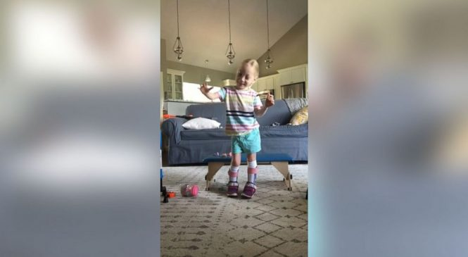4-year-old with cerebral palsy celebrates after taking first independent steps