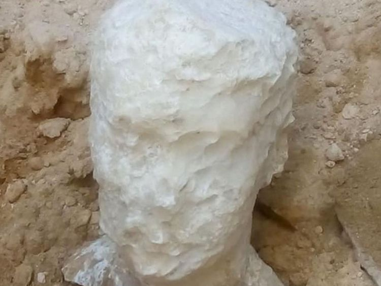 The alabaster head discovered in the catacombs. Pic: Egypt Ministry of Antiquities