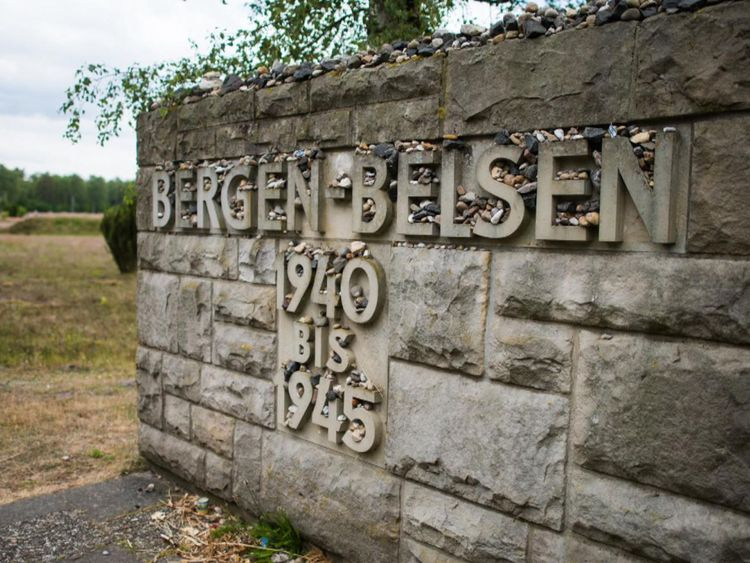 A sign at the site of the Bergen-Belsen concentration camp in Lower Saxony,  northern Germany