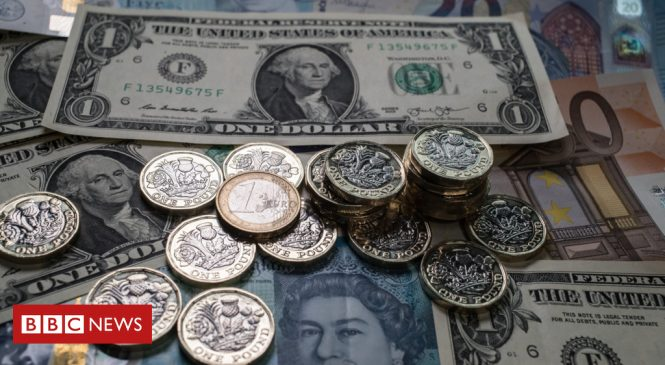 Pound falls lower against the dollar and euro