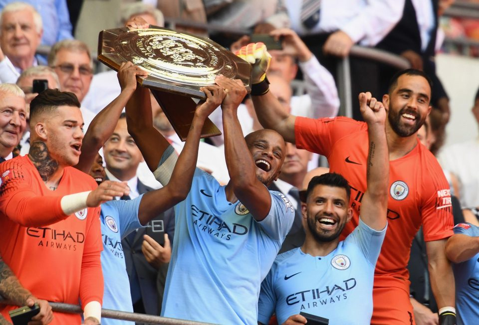 Sergio Aguero scored twice to give Manchester City their first trophy of the season