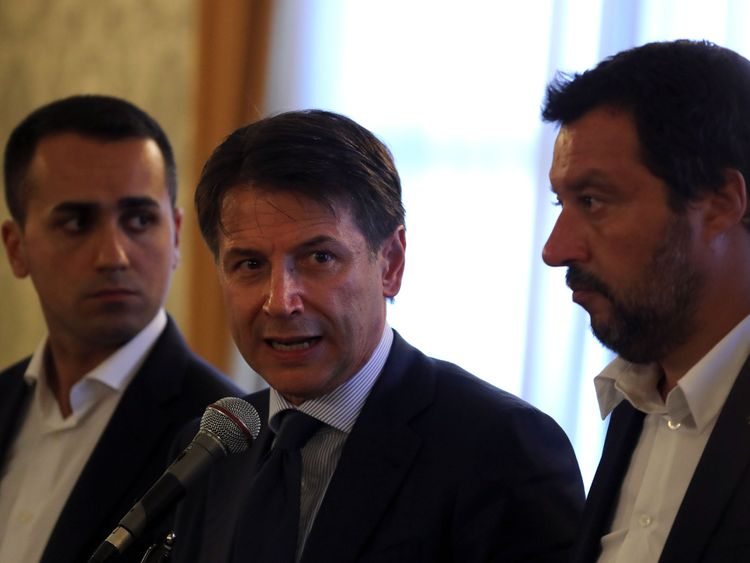 Giuseppe Conte with Luigi Di Maio (left) and Matteo Salvini (right)