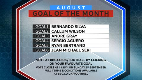 Goal of the month: Vote for your favourite from August