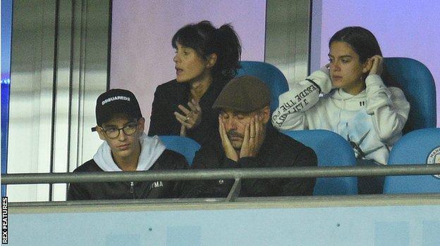 Pep Guardiola in the stands at Etihad Stadium