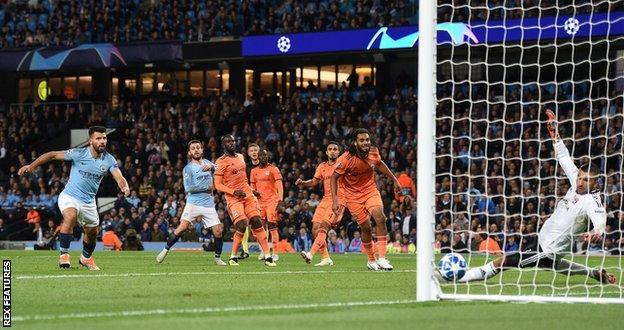 Bernardo Silva scores for Manchester City against Lyon
