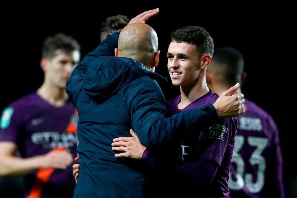 Guardiola congratulates the excellent Foden after the game