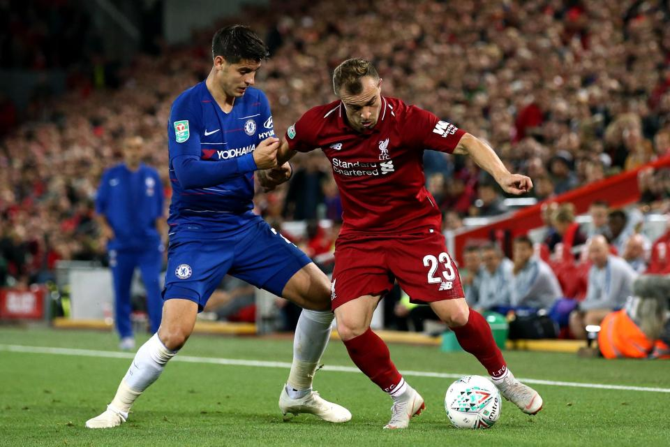 Liverpool star Xherdan Shaqiri in action against Chelsea in the Carabao Cup