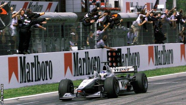 Mika Hakkinen crosses the finish line to win the Spanish Grand Prix in May 2000