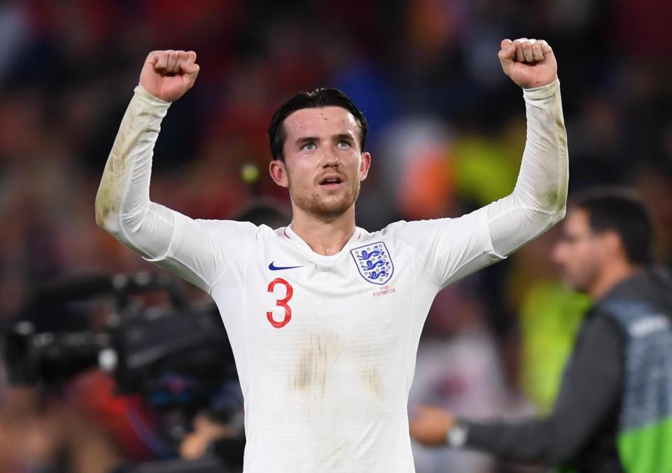 The left-back celebrates England's win over Spain on Monday