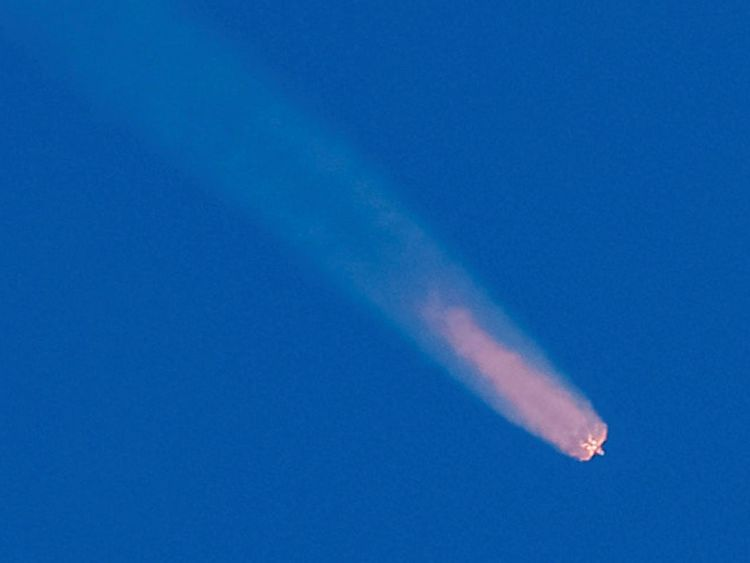 The Soyuz MS-10 spacecraft carrying the crew of astronaut Nick Hague of the U.S. and cosmonaut Alexey Ovchinin of Russia