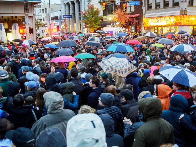 Vigil in Pittsburgh after the synagogue shooting