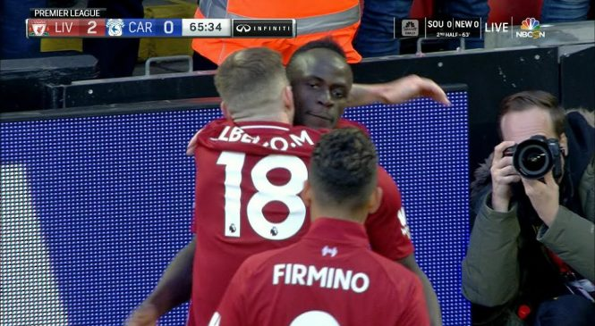 Watch: Sadio Mane navigates box for hectic Liverpool goal