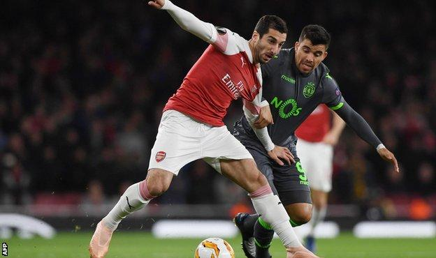 Henrikh Mkhitaryan in action for Arsenal against Sporting Lisbon