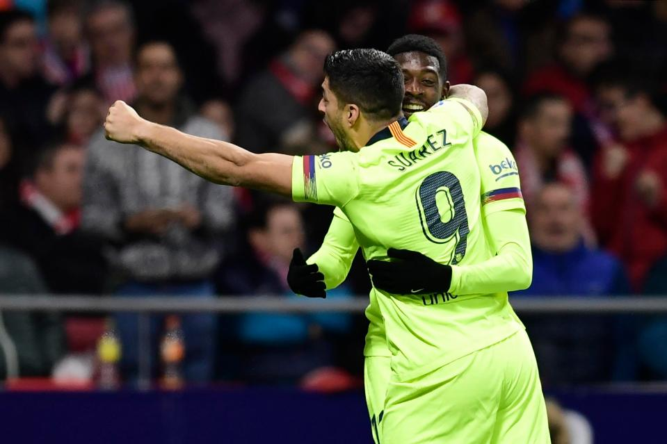 Ousmane Dembele celebrated his equaliser with Luis Suarez