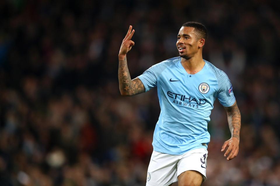 Gabriel Jesus celebrates scoring his hat-trick
