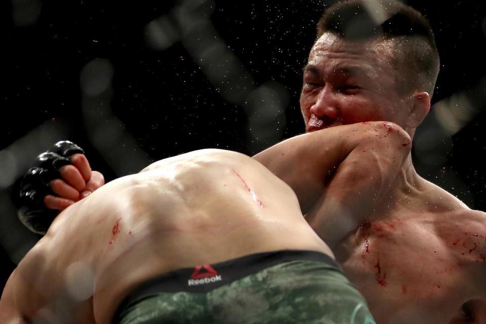The devastating elbow from Yair Rodriguez that knocked out the Korean Zombie at UFC Fight Night 139
