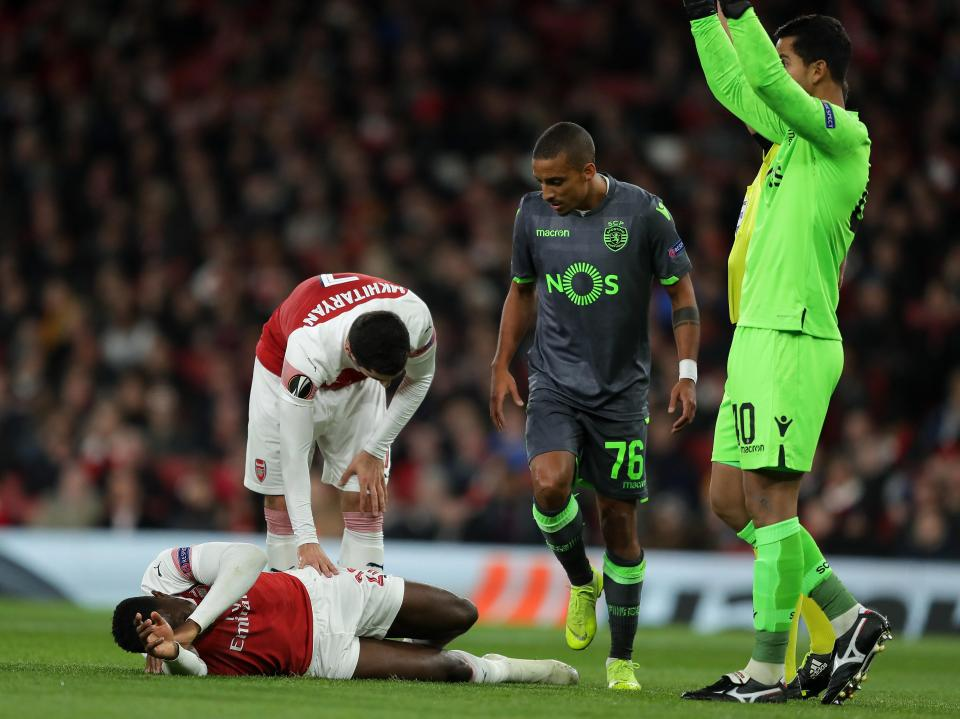 Welbeck landed awkwardly during the 0-0 draw with Sporting