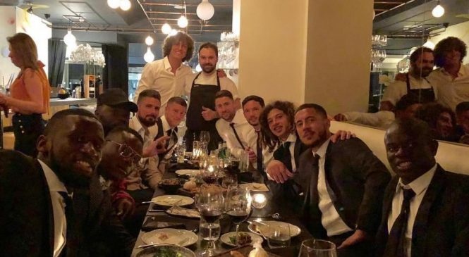 Chelsea stars David Luiz and Willian accuse N'Golo Kante of being tight when he visits their swanky Italian restaurant in Mayfair