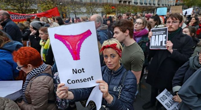 Women protest acquittal in Irish rape case by showing their underwear