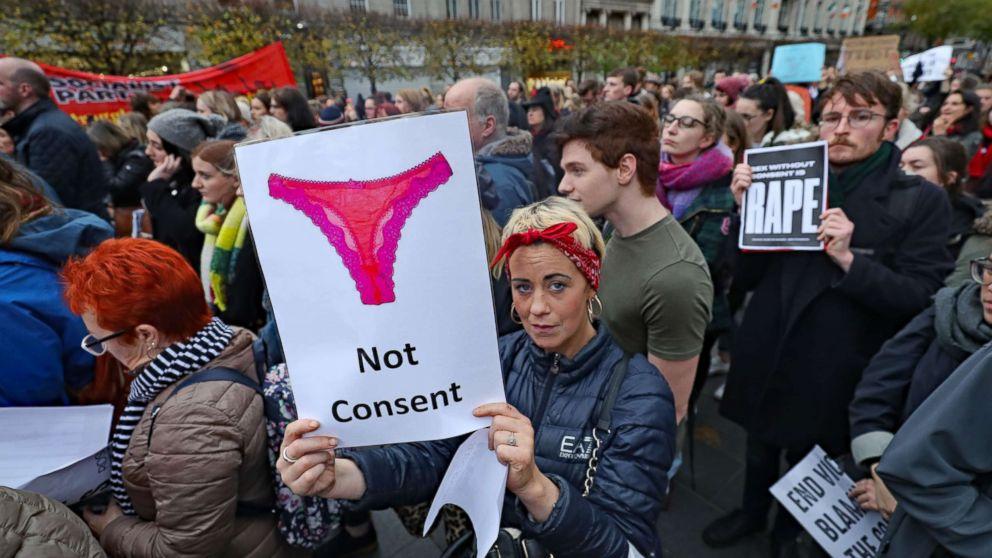 Women protest acquittal in Irish rape case by showing their underwear