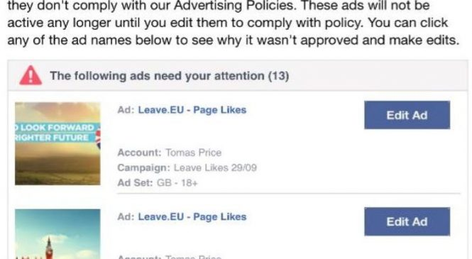 Facebook remove Brexit campaign ads in crackdown