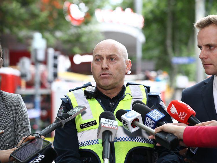 Superintendent David Clayton speaks to the media in Bourke St on November 09, 2018 in Melbourne, Australia