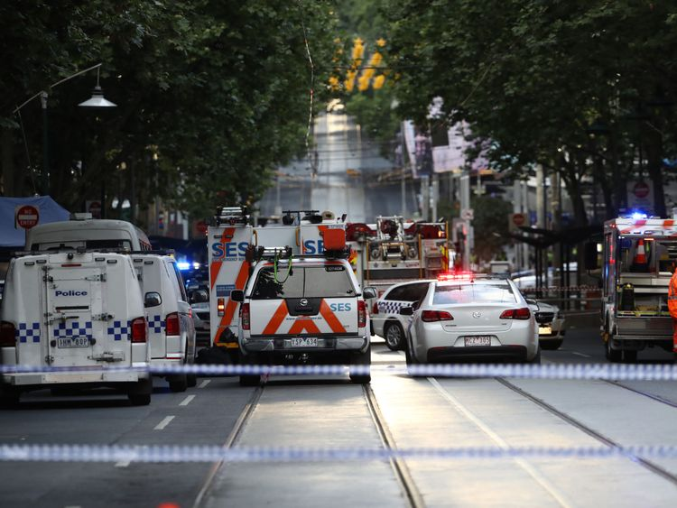 Emergency services are seen in Bourke St on November 09, 2018 in Melbourne, Australia