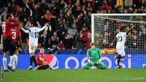 Valencia 2-1 Man Utd: Champions League defeat for Jose Mourinho's side