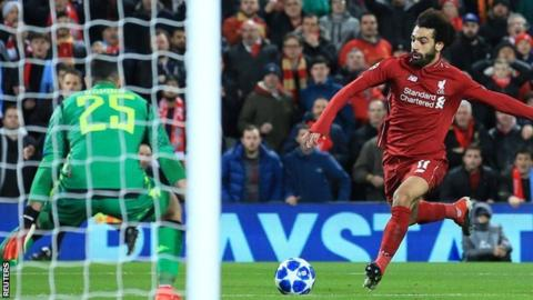 Mohamed Salah scores Liverpool's winner against Napoli