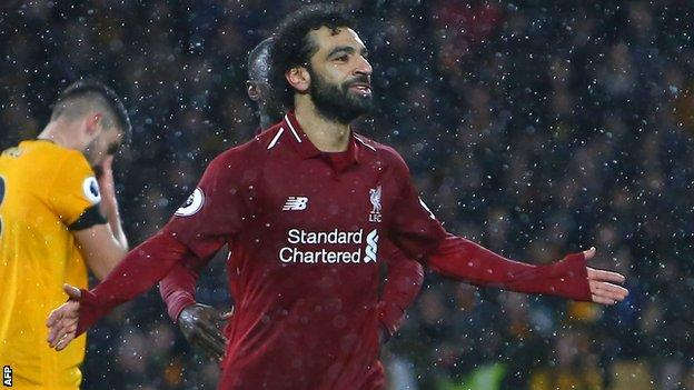 Wolves 0-2 Liverpool: Mohamed Salah helps Reds go four points clear