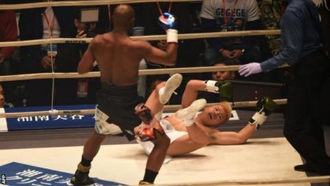 Floyd Mayweather floors Tenshin Nasukawa three times to win exhibition