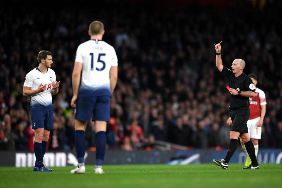 Vertonghen was dismissed late in the north London derby