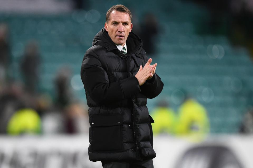 Brendan Rodgers applauds the home fans after the full time whistle