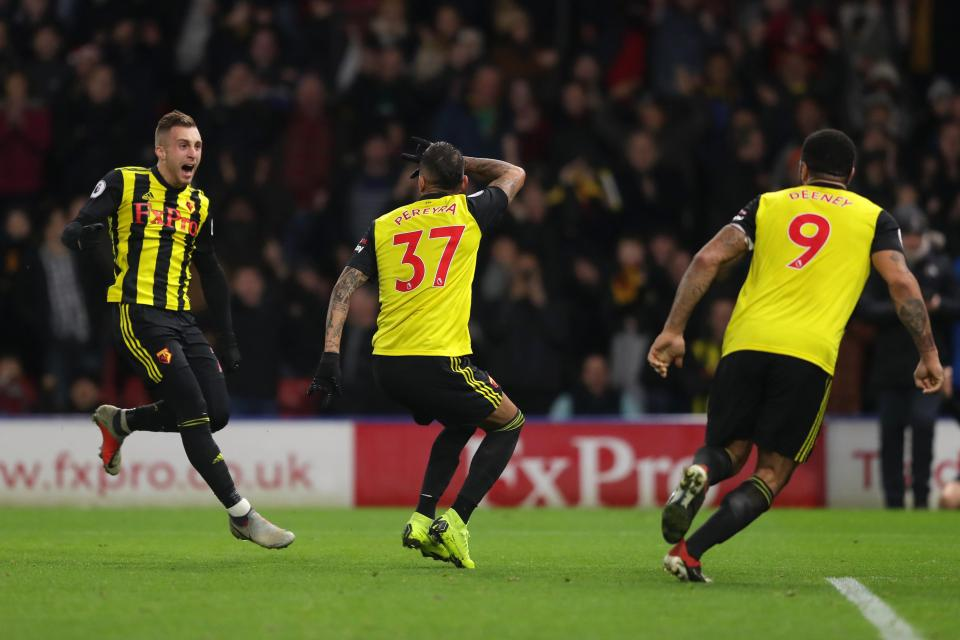 Pereyra celebrate scoring the equaliser against Chelsea