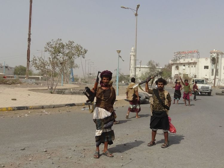 Yemeni pro-government forces gather in the port city of Hodeida