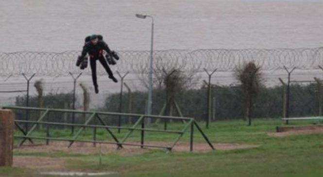 'Iron Man' ex-marine flies assault course in jet pack