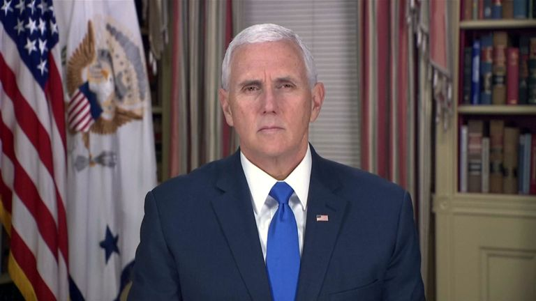 US vice president Mike Pence addresses the people of Venezuela