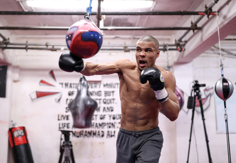 Chris Eubank Jr trains ahead of the grudge match with James DeGale next Saturday