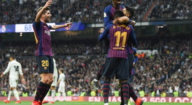 Real Madrid 0-3 Barcelona (1-4 on aggregate): Luis Suarez scores twice as holders progress to sixth consecutive Copa del Rey final