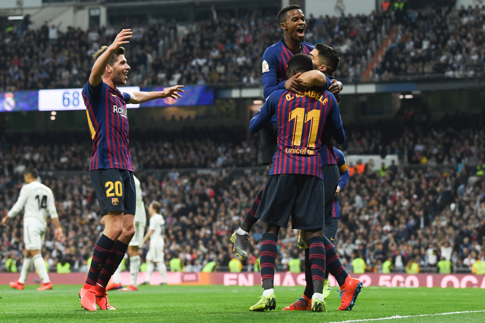 Barcelona celebrate their 3-0 victory