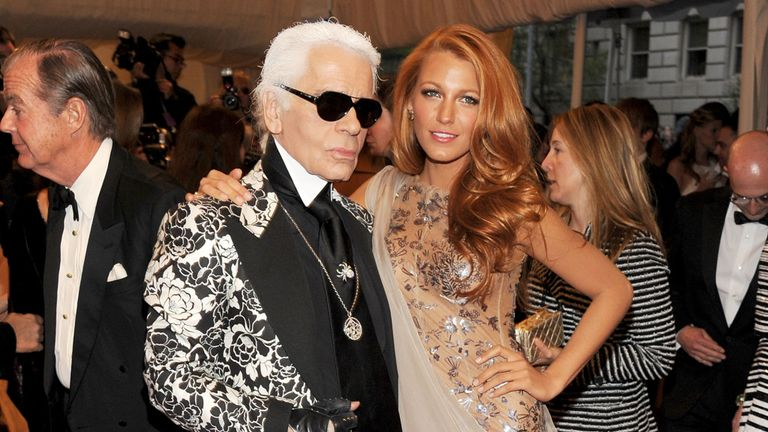 Karl Lagerfeld with actress Blake Lively in 2011