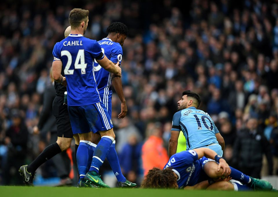 Aguero's dreadful tackle left Luiz in a heap