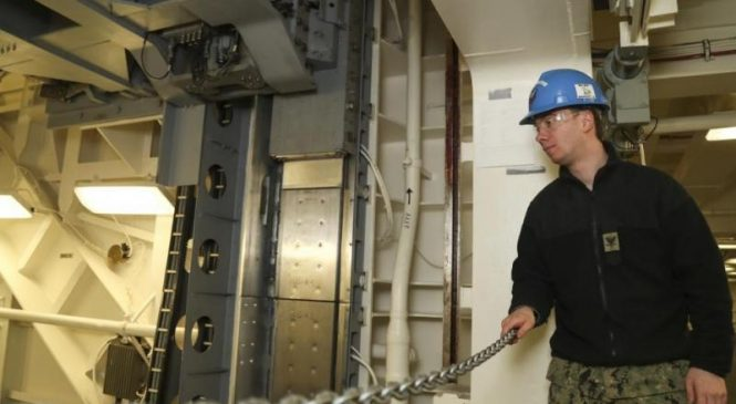 Second advanced weapons elevator completed on USS Gerald R. Ford