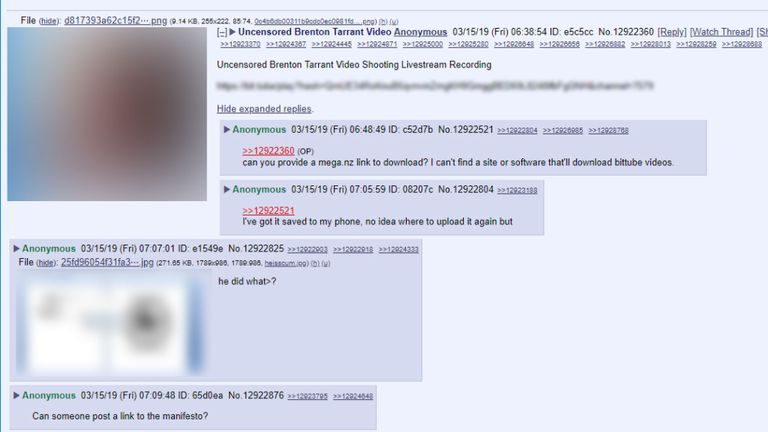 A screenshot of the discussion on 8chan
