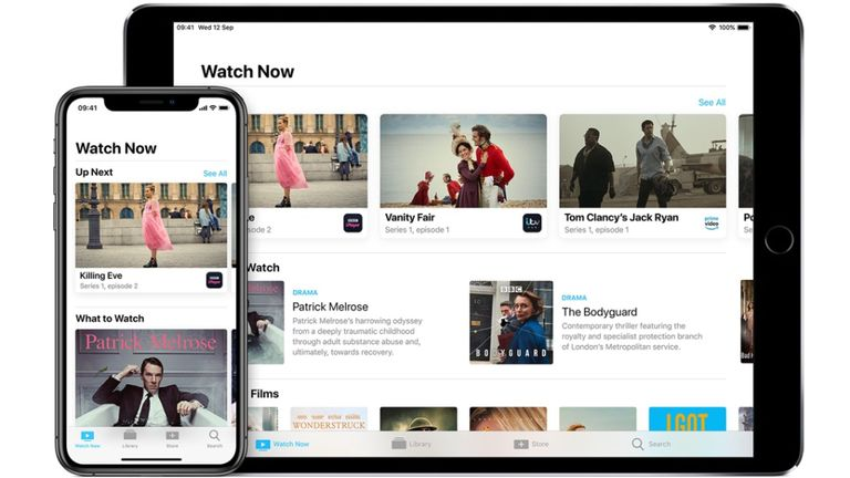 The current Apple TV app on iPhone and iPad