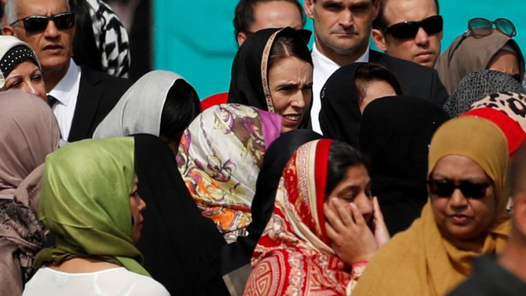 Jacinda Ardern in the crowds at the vigil