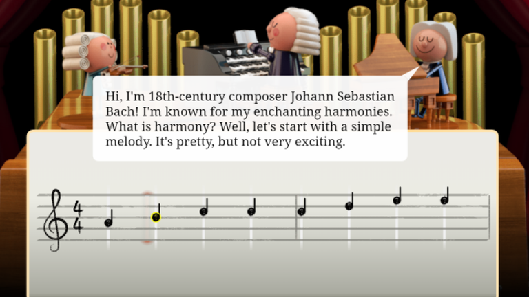 You can click on different lines to create your own melody