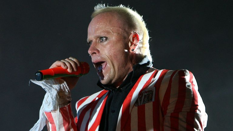 Prodigy lead singer Keith Flint performs during the Oxegen Festival 2008