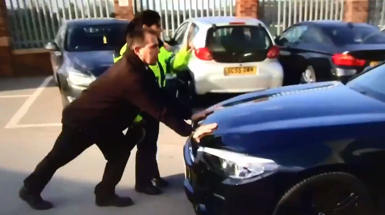 Police could be seen stopping Barton leaving Oakwell in a car